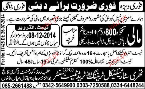 Malis Job in Three Star Technical Training and Trade Test
