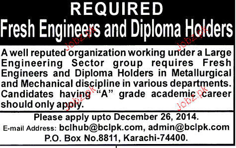 Fresh Engineers and Diploma Holders Job Opportunity