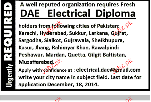 DAE Electrical Diploma HOlders Job Opportunity