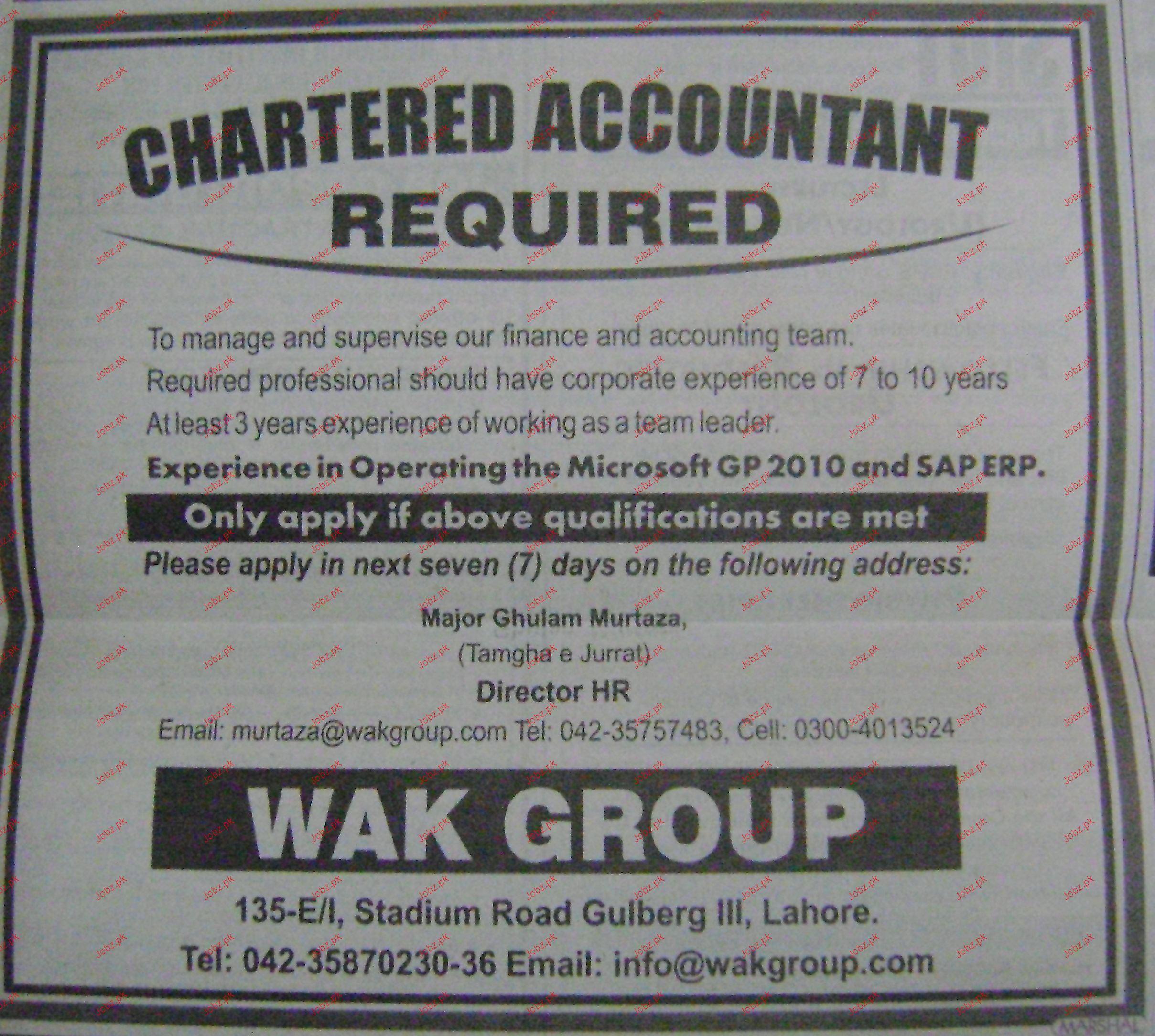 Chartered Accountant Job Opportunity 2019 Job