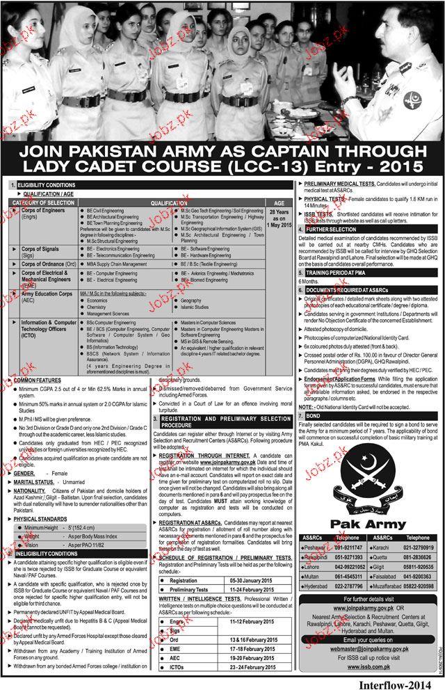 lady captain recruitment in pakistan army 2019 job