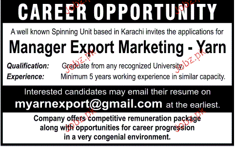 Manager Export Marketing Job Opportunity