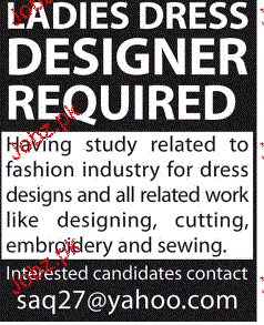 ladies Dress Designers Job Opportunity