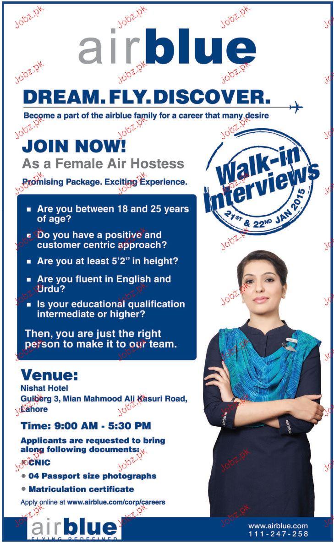 Air Hostess Job In Air Blue 2017 Jobs Pakistan Jobz Pk