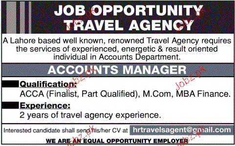 Accounts Manager Job Opportunity
