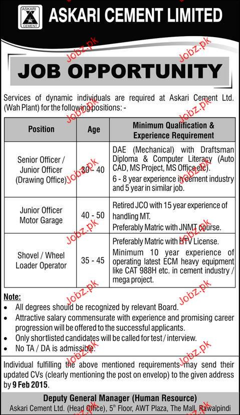 Senior Officers, Junior Officers and Loader Operators Wanted
