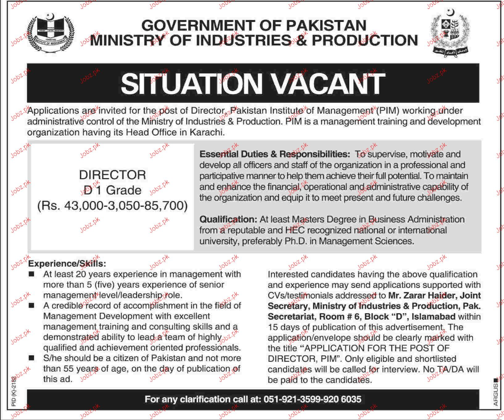 Director Job in Ministry of Industries and Production