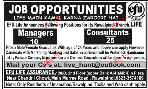 Managers and  Consultants Job Opportunity