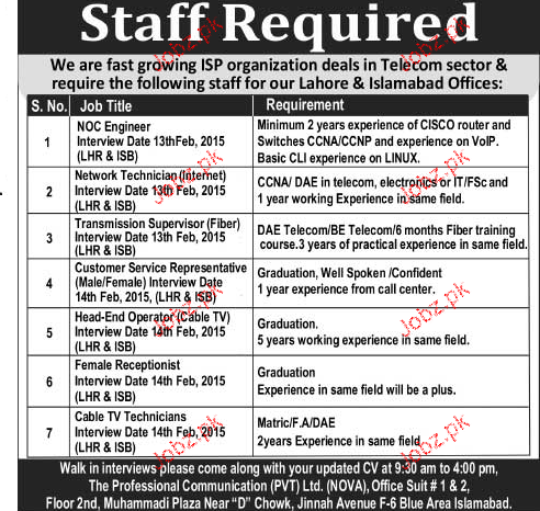 NOC Engineers, Network Technicians Job Opportunity
