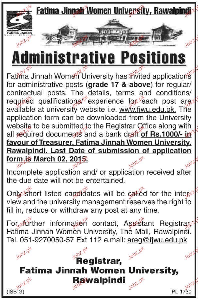 Administrative Jobs in Fatima Jinnah Women University
