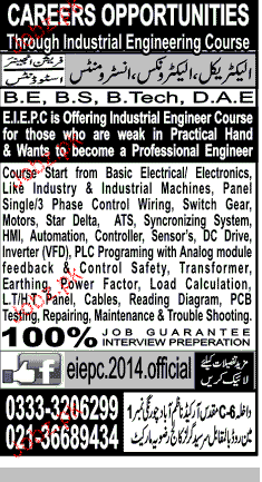 Electrical and  Mechanical Diploma Holders Job Opportunity
