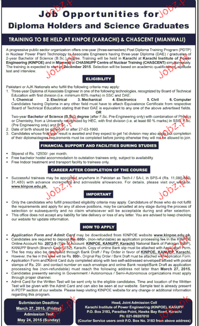 Diploma Holders and Science Graduates Job Opportunity