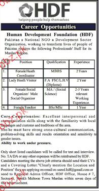 Health Coordinators, Lady Health Visitors Job Opportunity
