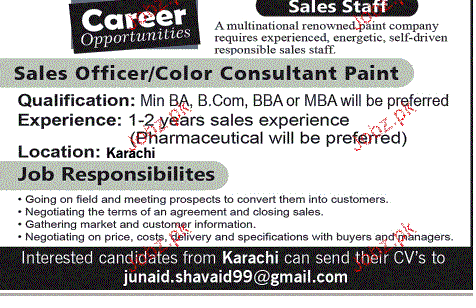 Sales Officers and Color Consultants Job Opportunity