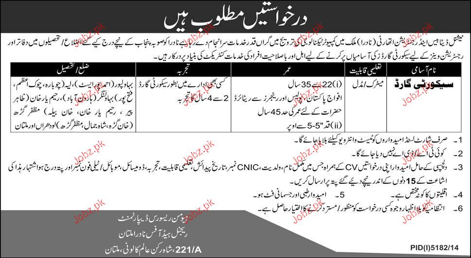 Security Guards Job in National Database and Registration