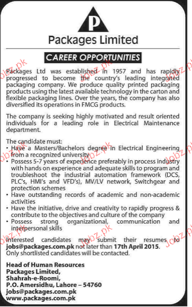 Electrical Maintenance staff Job Opportunity