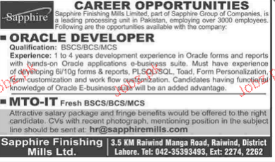 Oracle Developers and MTO-IT Job Opportunity