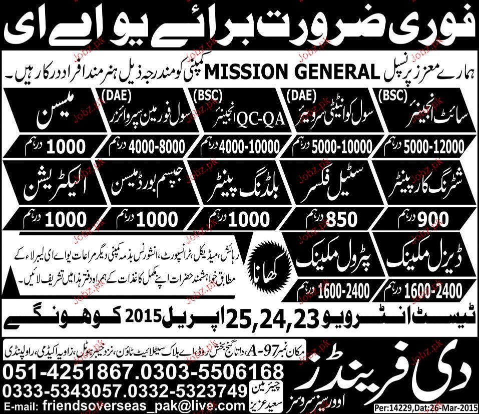 Site Engineers, Civil Foreman, Mason Job Opportunity 2019 Job Advertisement Pakistan