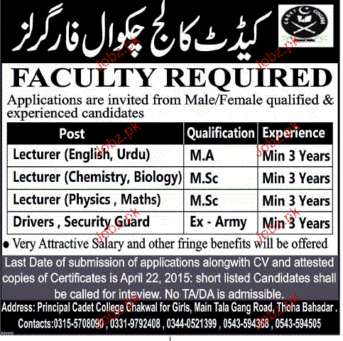 Lecturers and Drivers Job in Cadet College Chakwal For Girls