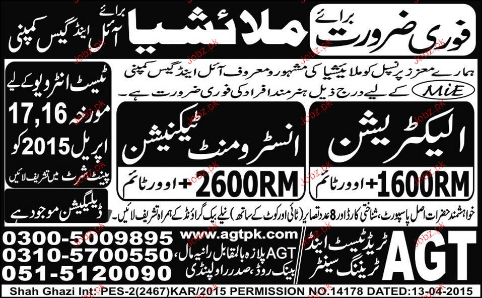 Instrument Technicians and Electricians Job Opportunity