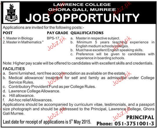 Lecturers Job in Lawerance College Ghora Gali Murree