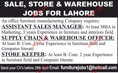 Assistant Sales Manager, Warehouse Officer Wanted