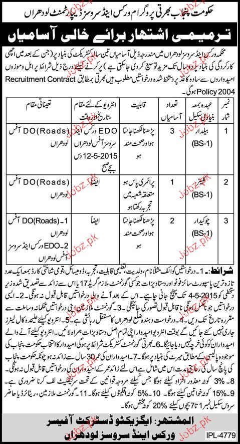 Baildars, Cleaners and Chawkidars Job Opportunity
