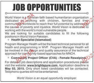 Health Specialist Job in World Vision