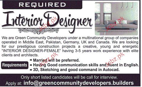 Interior Designers Job Opportunity 2020 Job Advertisement Pakistan
