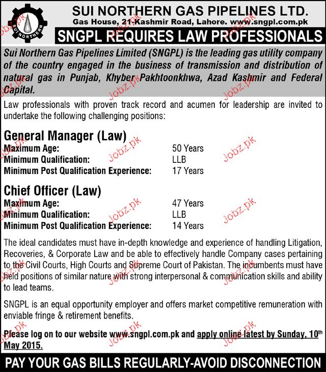 General Manager and Chief Officers Job in SNGPL