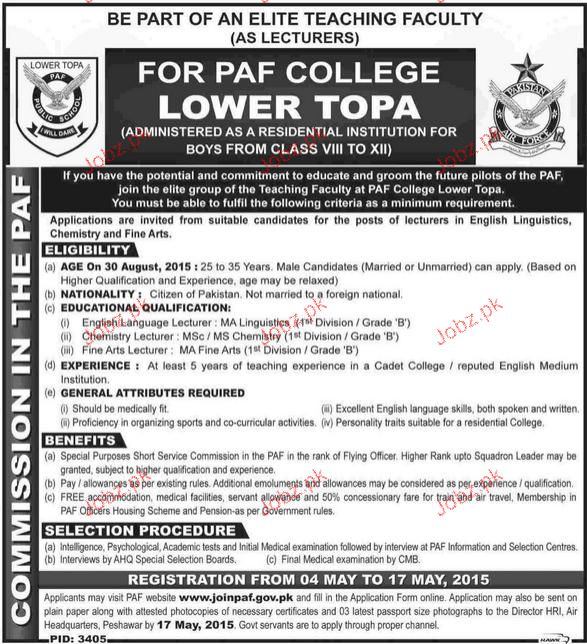 Jobs Paf Colleges Sarha Lower Topa Murree 2017 Lecturers Chemistry Math English Urdu