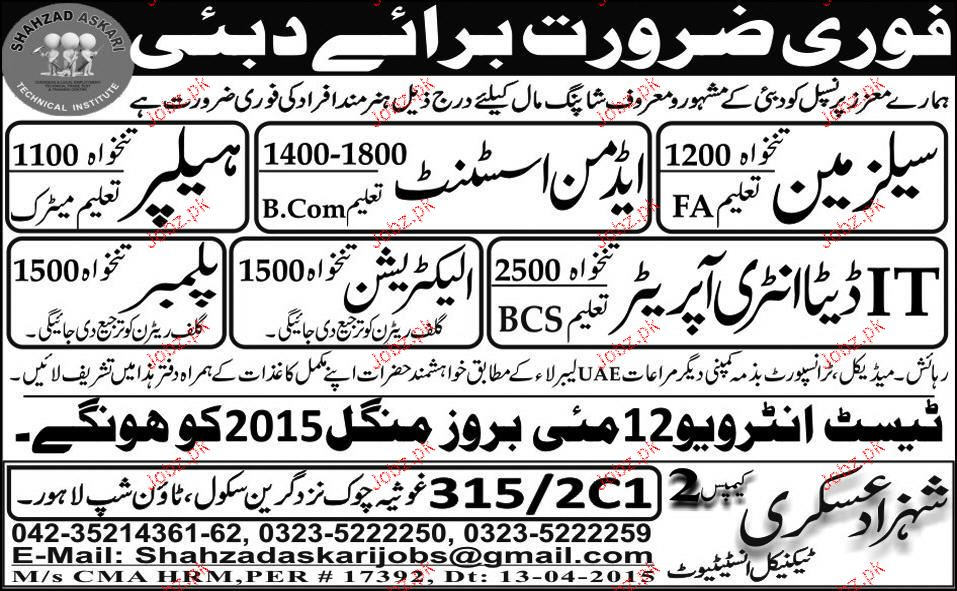 Salesman,  Admin Assistant, Data Entry Operator Wanted