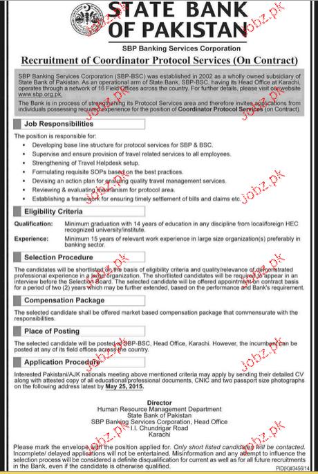Recruitment of Coordinator Protocol Services  Job in SBP