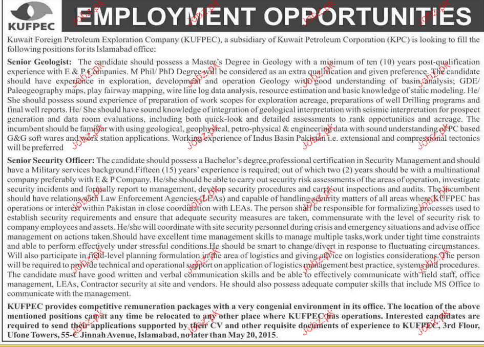 Senior Geologist and Senior Security Officers Wanted