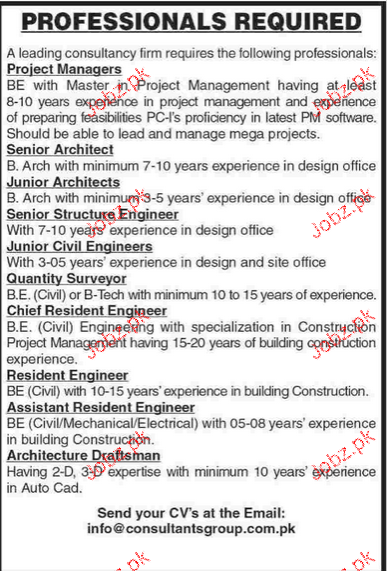 Project Manager, Senior Architects, Junior Architects Wanted
