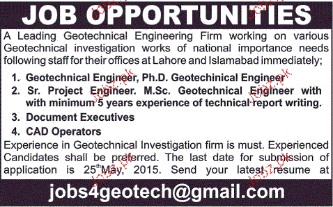 Geotechnical Engineers and Senior Project Engineers Wanted