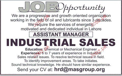 Assistant Manger Industrial Sales Job Opportunity 2018 Jobs Pakistan