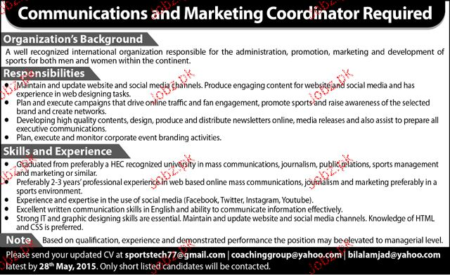 Communication and  Marketing Coordinators Job Opportunity