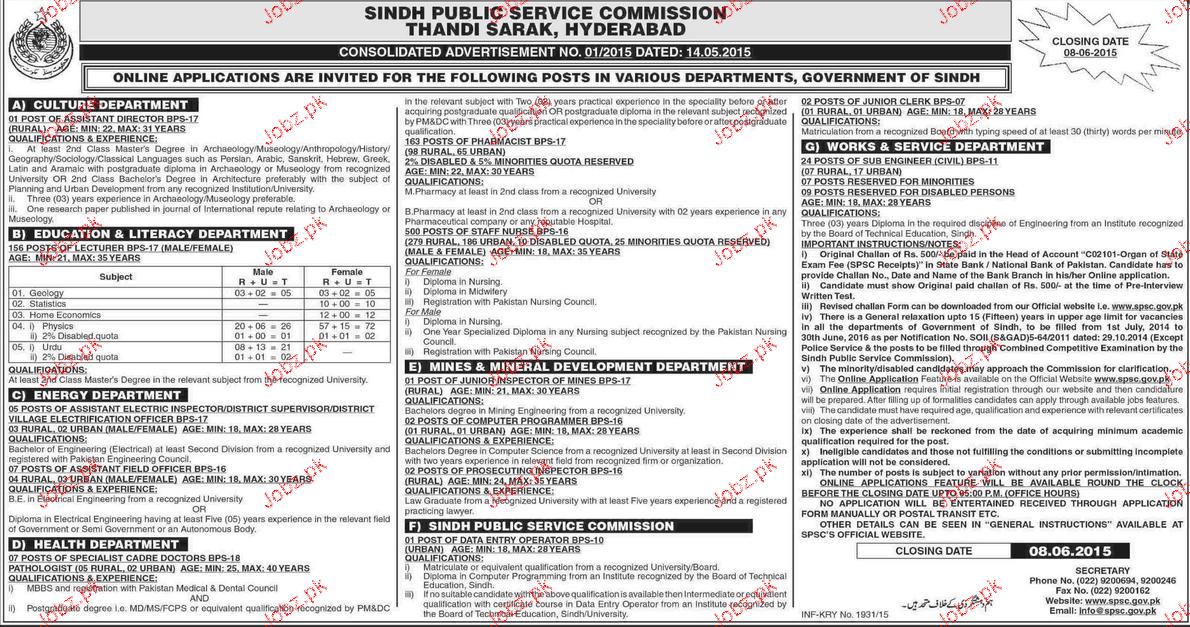 Assistant Director, Civil Engineers Job in Sindh Public Serv