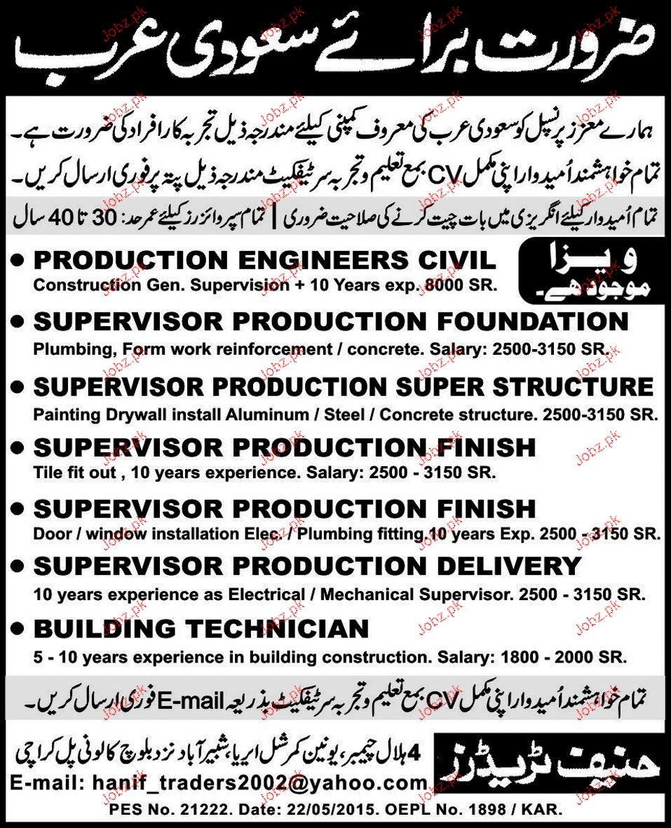 production engineers supervisor job opportunity - Production Engineering Job