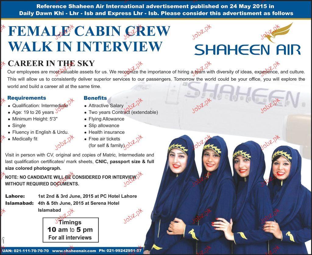 Female Cabin Crew Job in Shaheed Air