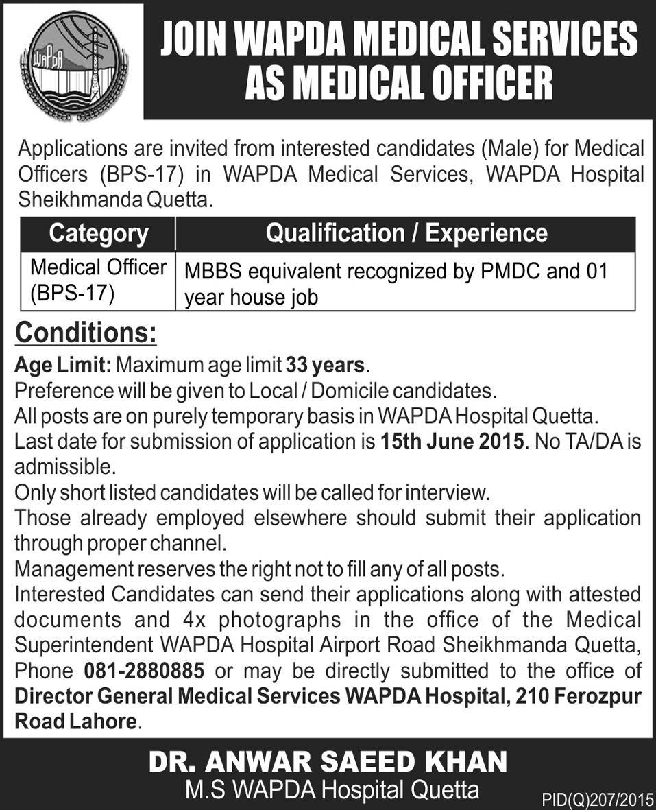 Recruitment Of Medical Officers Job In WAPDA