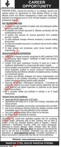 Chief Medical Officers Job in Pakistan Steel