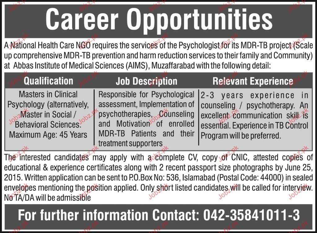 Master Degree Holders in Clinical Psychology Job Opportunity 2018 ...