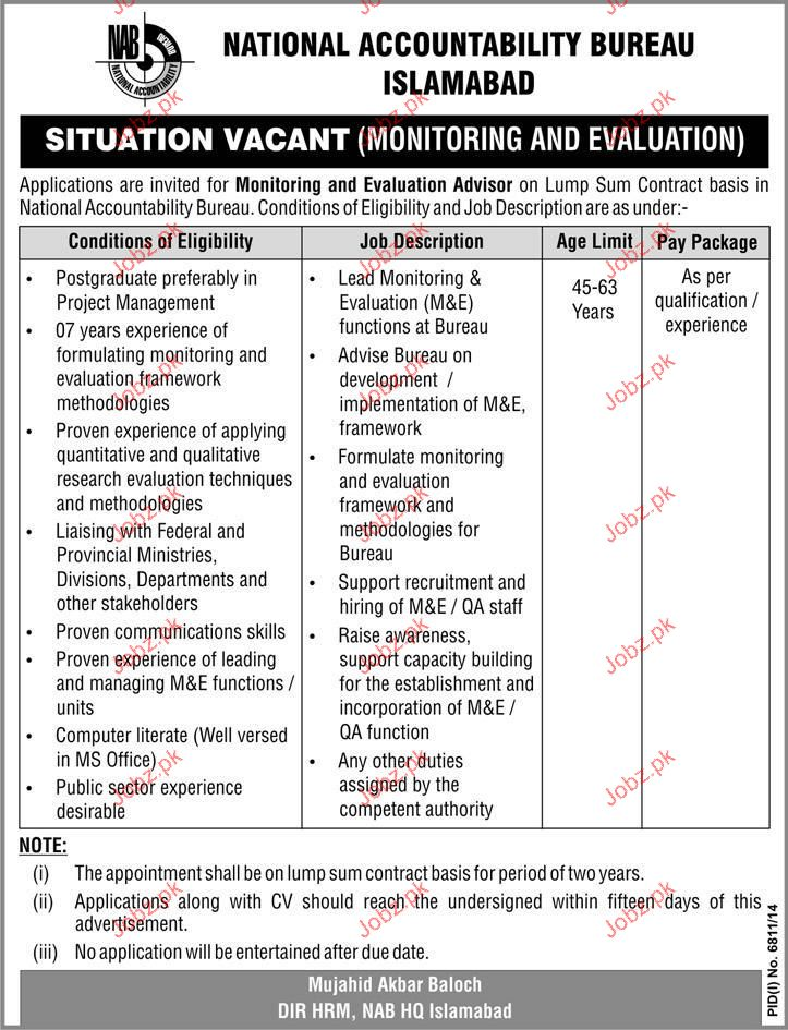 Monitoring and Evaluation Advisor Job in NAB