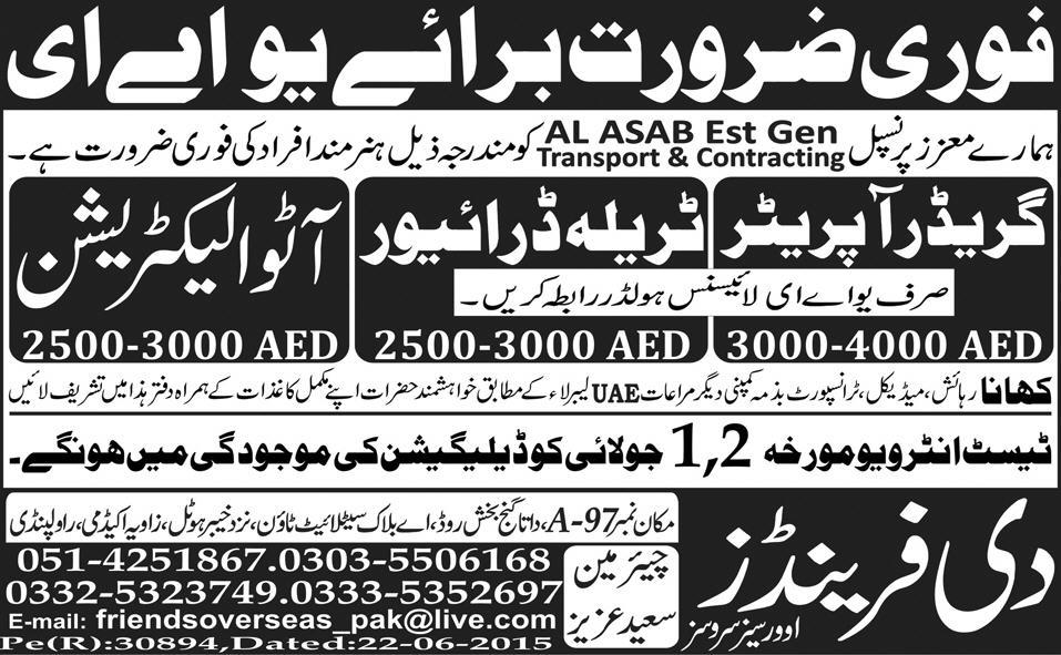 Truck Driver And Auto Electrician Jobs In Uae
