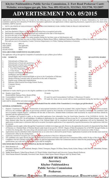 Lecturers Job in KPK Public Service Commission 2019 Job