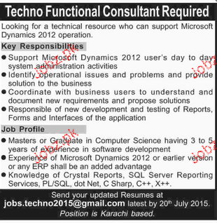 techno functional consultants opportunity 2017 2018