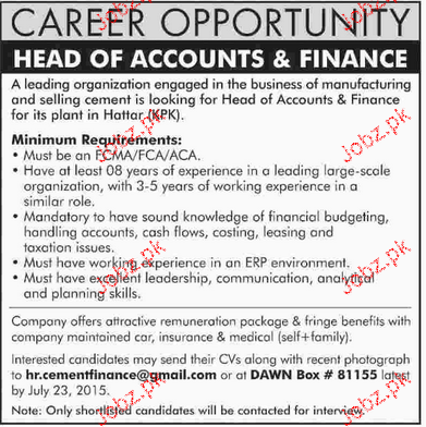 Head of Finance and Accounts Job Opportunity