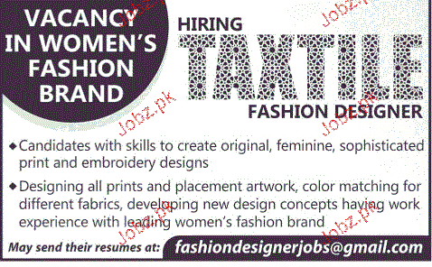 Textile Fashion Designers Job Opportunity 2020 Job Advertisement Pakistan